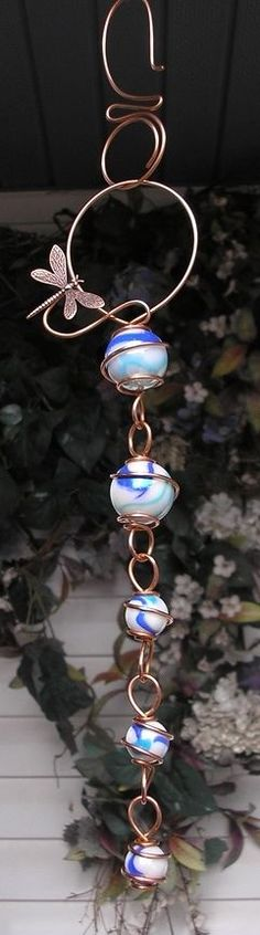 Dragonfly Cascade Copper Glass Garden Lawn Art Ornament Suncatcher Outdoor Blue #DragonflyDreams