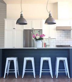shiplap island + bright white stools