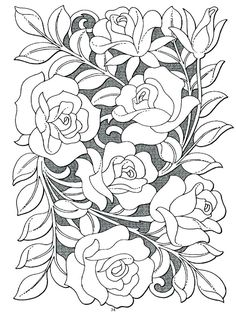 Rose Bouquette Coloring Page For Adults Kleuren Voor Volwassenen Farbung Fur Erwachsene Coloriage Pour Adultes Colorare Per Adulti Para Colorear