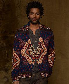 Denim & Supply Ralph Lauren Sweater, Shawl Collar Intarsia Linen-Blend Cardigan - Denim & Supply Shop All - Men - Macy's