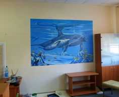 Dolphins hand-painted on a wall of a children's hospital Childrens Hospital, Under The Sea, Dolphins, Murals, Commercial, Hand Painted, Wall, Artwork, Painting