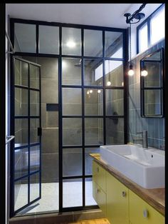 Steel paneled shower enclosure with door for an amazing master bathroom. LOVE this - made by American Shower Doors. Glass Shower Doors, Bathroom Doors, Bathroom Ideas, Glass Doors, Master Bathrooms, Shower Ideas, Shower Window, Bathroom Plans, Bathroom Photos