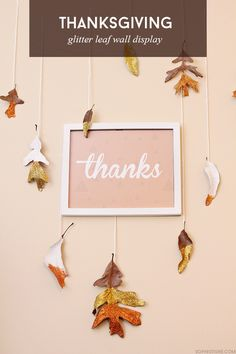 Thanksgiving Glitter Leaf Wall Display