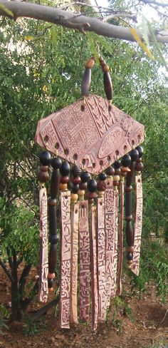 Porcelain Wind Chimes  Handmade Beaded Tribal by EspritMystique, $45.00
