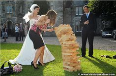 Giant Jenga - the Perfect Lawn Game for a wedding. *Truth or Dare Giant Jenga Lawn Games Wedding, Jenga Wedding, Camping Wedding, Reception Games, Reception Ideas, Reception Activities, Party Activities, Giant Jenga, Outdoor Weddings