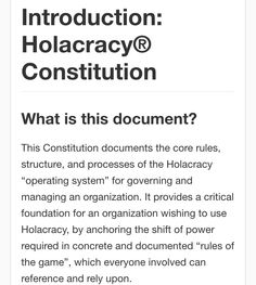 Open Source Holacracy Constitution