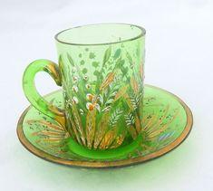 Antique Bohemian Glass Cup Saucer