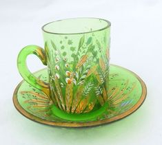 Antique Bohemian Glass Cup Saucer