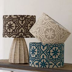 Navy Blue Embroidered Lampshade