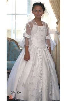 First Communion Dress with Embroidery and Organza Overlay -