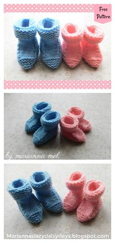 These cute baby booties are the perfect accessories for your baby! Use this newborn baby booties free knitting pattern to make your own now! Knit Baby Booties Pattern Free, Crochet Baby Pants, Crochet Baby Sandals, Crochet Baby Shoes, Baby Knitting Patterns, Free Knitting, Knitted Baby, Doll Patterns, Sock Knitting