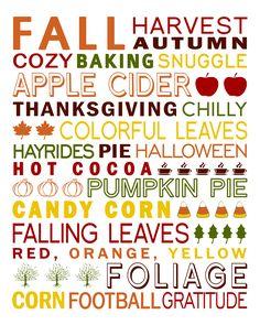 Fall Subway Art Printable!   Holiday Themed DIY Crafts   Pinterest ...