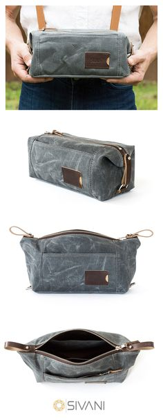 Made in the USA out of heavy-duty waxed cotton canvas, our NO. 349 dopp kit offers generous storage space to meet your life's daily demands. Thanks to the various assorted pockets and the detachable straps, you can keep your things organized day after day. With the option to add personalized monograms, our Expandable Dopp Kit truly feels like your own special treasure chest filled with your most prized possessions. dopp kit | toiletry bag for men | waxed canvas wash bag