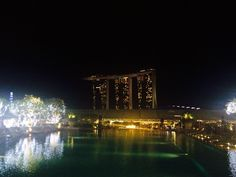 The roof top bar of Marina Bay Hotel