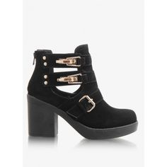 Botki Cut Out Gold Clips Black Suede