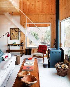 wood wall, wood stove
