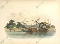 A fishing boat A fishing boat, The fisherman use a bamboo frame to raise their fishing net. The distant view is described as Lake Poo-yang. Image taken from The Costume of China. Illustrated in forty-eight coloured engravings. Originally published in William Miller: London, 1805.