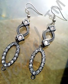 Art Deco  Crystal and Rhinestone Silver Drop Earrings, Vintage Inspired on Etsy, $24.00
