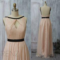 2015 Peach Bridesmaid dress, Long Coral Wedding dress, Party dress, Formal dress, Prom Dress,Floor dress, Elegant dress (F063A2)-Renzrags