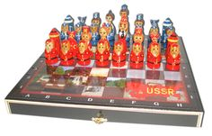 Russian chess set RUSSIA USSR vs. USA hand painted by EtsyGrail