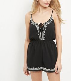 Parisian Black Embroidered Lace Up Playsuit | New Look