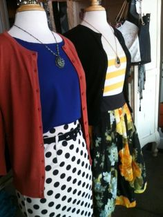 Cobalt shell, rust cardigan,with polka dot pencil skirt - Block cardigan, yellow stripe tank, floral skirt