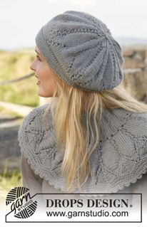 """Set consists of: Knitted DROPS neck warmer and hat with lace pattern in """"Lima"""". ~ DROPS Design(#3 weight yarn)"""