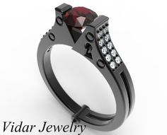 Ruby And Diamond Handcuff Engagement Ring