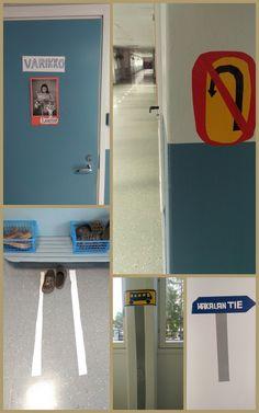 Liikenneturvallisuusviikko - koulun sisäinen liikenne, osa 2. Mainosteipein lattiaan...