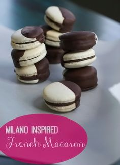 Oooh La La! It's Chocolate Macaron day at The Heritage Cook! Don't miss these beauties ... Milano Inspired Chocolate Dipped French Macarons #GuestPost #SpinachTiger #ChocolateMonday