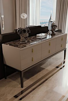 Art Deco Inspired High End 6 Drawer Buffet Sideboard A high gloss cappuccino lacquered structure wit Art Deco Furniture, Luxury Furniture, Furniture Design, Luxury Interior Design, Contemporary Interior, Muebles Art Deco, Art Deco Stil, Sideboard Buffet, Modern Sideboard