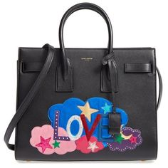 Women's Saint Laurent Small Sac De Jour Patchwork Leather Tote ($2,990) ❤ liked on Polyvore featuring bags, handbags, tote bags, purses, ysl, leather tote purse, leather tote shopper, hand bags, leather purses and tote handbags