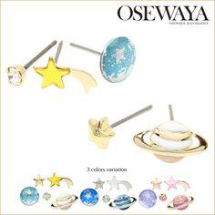 ピアス 土星 地球 星 流れ星 5個 セットピアス[お世話や][osewaya]【楽天市場】