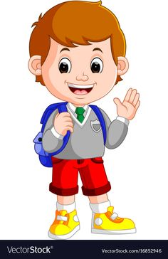 Cute boy on his way to school vector image on VectorStock Cute Cartoon Boy, Cute Cartoon Pictures, Cartoon Pics, Preschool Family Theme, Body Preschool, Boy Cartoon Characters, Student Cartoon, Flashcards For Kids, Islamic Cartoon