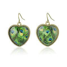 Peacock Print Heart Framed Earrings