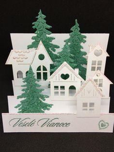 Christmas card snowy village