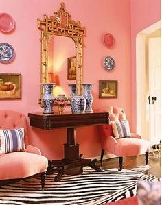 Chinoiserie Chic, pink, blue decor