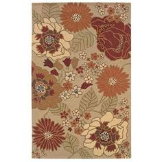 Hand-tufted Beige Contemporary Floral Wool Area Rug (5' x 7'9)