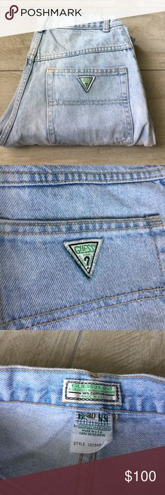 """Rare Vintage Guess Jeans Washed High Waisted Denim Vintage 80s/90s High Waisted Washed Denim Guess Jeans   Size: 30/31 Waist x 41"""" Length   Condition: Pre-Owned (Excellent vintage condition! (Washed, regular wearing, superb denim! No major flaws!) Vintage Jeans Straight Leg"""