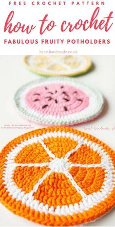 Learn how to crochet fabulous tutti frutti pot holders! These Citrus Pot Holders are a free crochet pattern & perfect for Crochet in the Summer! Crochet orange, watermelon or lemon potholders with super soft dk yarn. Crochet Fruit, Crochet Food, Crochet Gifts, Cute Crochet, Crochet Yarn, Crochet Flowers, Crochet Summer, Easy Crochet, Crochet Owls
