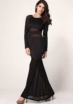 Black Plain Patchwork Lace See Through Long Sleeve Ankle Sexy Dacron Maxi Dress