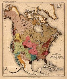 "MAP of Linguistic Stocks of American Indians circa 1890 - measures 24"" high x 28"" wide (610mm high x 712mm wide) Antiguos Maps"