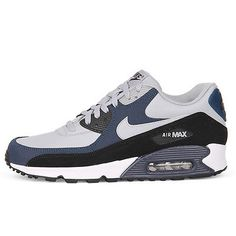 Nike Air Max 90 Leather Mens 652980-011 Grey Navy Black Running Shoes Size 11
