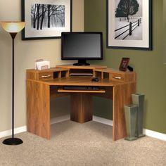 Corner Computer Desk with Monitor Platform, Silver