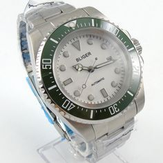 102.50$  Buy now - http://alil64.shopchina.info/1/go.php?t=32741213769 - Bliger 44mm white Sterile dial  green Ceramic Bezel automatic mens watch  #bestbuy