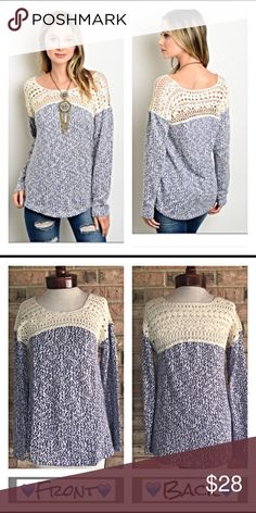 Beautiful Crochet Lace Panel Marled Sweater Top SM How cute is this little soft marled indigo blue & cream sweater - 100% cotton with crochet lace front and back panels. Slightly tapered flattering fit.  New from maker without tags  Small Bust 34 length 26  Medium Bust 36 length 27  Large  Bust 38 length 28 marled Tops Tunics