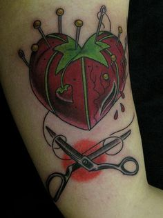 I was just thinking, 'I wonder if there's a way I can turn a tomato pin cushion more into a heart shape for a tattoo' and look at what I found! #sewingtattoo #crafty