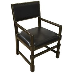 Fresh Noir Leather Square Arm Chair Distressed Brown GCHAAD