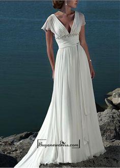 A-line V-neck Chapel  Wedding Dress For Your Beach Wedding