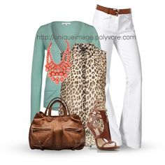 Love, love, love these white pants.  With the heels shown.....it is a tall, lean look that works!